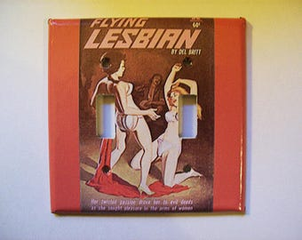 Lesbian pulp double toggle switch plate retro vintage pin up girl kitsch sleaze decor