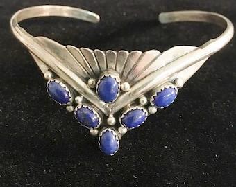 Vintage Sterling and Lapis Artist Signed Cuff Bracelet
