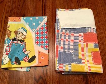 Raggedy Ann Flat Sheet and Pillowcase