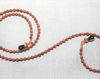 Beaded Goldstone Copper Reading Sunglass Eyeglass Chain Holder #153
