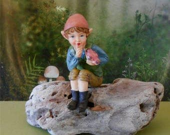 Gnome Figurine~ 3 Inch Elf with Bird~Miniature Garden Gnome~Fairy Garden~Miniature Gnome~