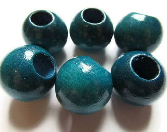 6 21mm x 19mm Blue Beads Round Wood Beads Vintage Beads Wooden Beads Large Hole Beads Loose Beads New Old Stock Beads Macrame Beads