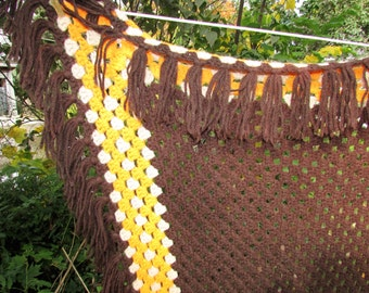 Vintage Blanket Afghan Crochet Brown/Orange Throw FRINGE Bedspread Boho