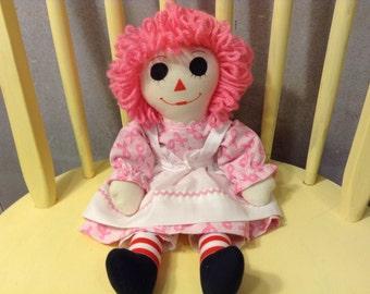 "Raggedy Ann Doll Handmade Pink Hair Breast Cancer Awareness Dress 15"" Custom orders available"