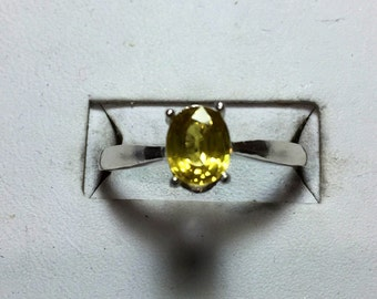 Yellow Tourmaline silver ring