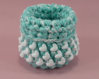 BEADED BASKET Hearts Aqua White Crochet Small Mini Sturdy Cute Bowl Container Storage Girls Room Gift For Her