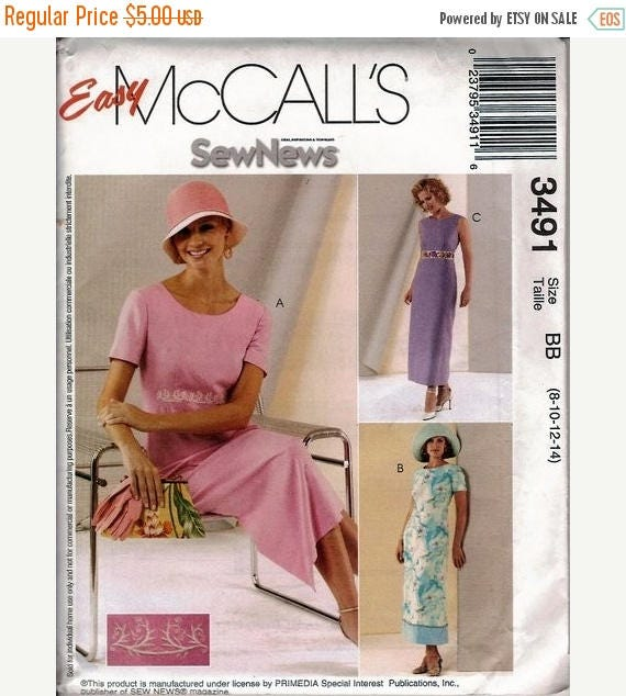 ON SALE Sewing Pattern McCall's 3491 Dress Bust 30-36 inches Uncut Complete FF