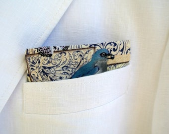 Purple Pocket Square , Mens Cotton Butterfly Handkerchief , Bird Lover Suit Hankie , Hand Rolled , Gift for Dad Father