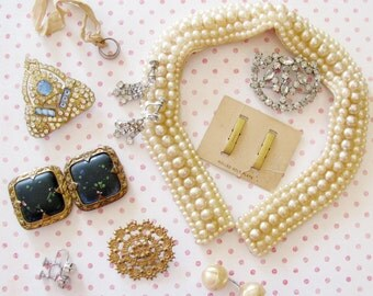 Gold, Pearl & Sparkle...Vintage Costume Jewelry and Pretty Findings