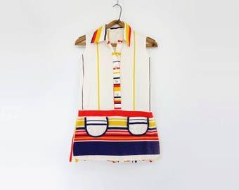 Vintage 1960s Girls Stripe Playsuit Romper 11/12