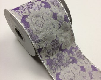 "Wired Edge Ribbon 4"" Wide - 9 Yards - purple floral"