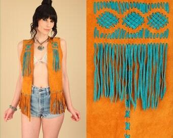 ViNtAgE 60's 70's Suede Fringe Beaded Vest // RARE Turquoise Color // Leather Rocker Hippie Gypsy Festival Southwest Bohemian S/M