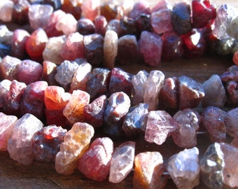 Multi Spinel - Rough Nugget Cut - 4 inches - semiprecious gemstones - organic cut chunky nuggets - average size of 9mm X 6mm