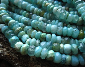 Peruvian Opal stone beads faceted rondelles - 6 inches - 6mm X 3mm