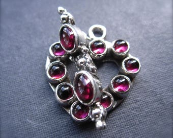 Sterling Silver and Garnet Toggle Clasp heart shaped