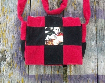 Red Black Vampire Recycled Corduroy Crossbody Purse Ready to Ship