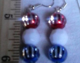 Striped Patriotic Drop Earrings or Necklace