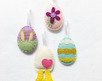 Easter Egg Ornament Set of 4, Spring Ornament, Felt Ornament, Felt Hand Stitched Decor