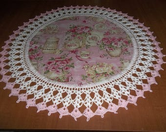 Spring, Doily, Crocheted Edge, Lace Doilies, Fabric Center, China, Pink Roses, Crochet, Centerpiece, Table Topper, Handcrafted