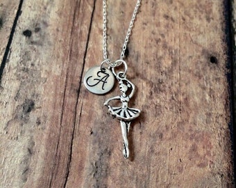Ballerina initial necklace - ballet jewelry, gift for dancer, ballerina jewelry, dance necklace, silver ballerina necklace, dance jewelry