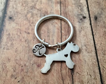 Schnauzer initial key ring - dog breed key ring, gift for schnauzer owner, silver schnauzer dog key ring, terrier accessories