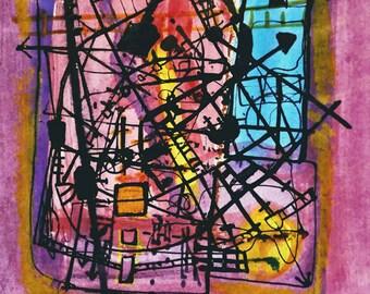 Original Abstract Painting.  Original Drawing. Mixed Media Art. Industrial Modern art. Abstract Art. Minimalist Decor. Aqua. Red. Blue.