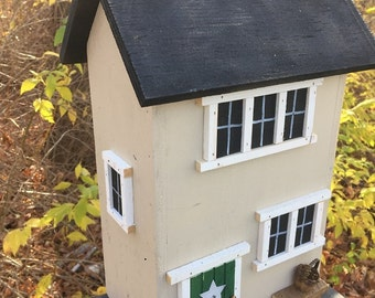 Primitive Birdhouse Folk Art Rustic Country Colonial Beige Salt Box Garden Patio