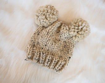 Baby Knit Bear Hat / Child Chunky Beanie / Knit Bear Hat Pom Poms / Toddler Knit Baby Hat / Bear Knit Child Hat