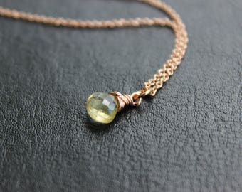 Lemon Quartz Rose Gold Necklace