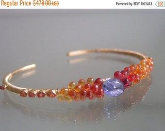 Sapphire Cuff, Orange Sapphire 14k Gold Filled Cuff, Stackable Tanzanite, Wire Wrapped Bracelet, Encrusted, Timeless, Signature Original
