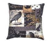 Gothic Raven Decorative Throw Pillow Victorian Steampunk Home Decor Bedding