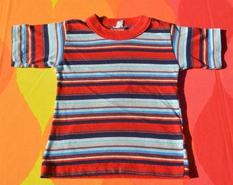 70s vintage kids t-shirt STRIPES rainbow surf youth Small 4 5 leadscraft 80s
