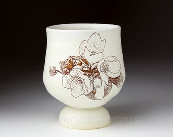 Ceramic Wine Cup - Pottery Tea Bowl - Juice Cup - Pottery Glass - Antiqued Style - White Cup - Footed Wine Cup