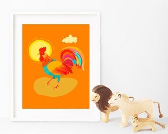 Orange Rooster print