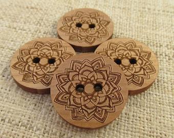 Mandala Wood Buttons - Engraved Laser Cut Wooden Buttons