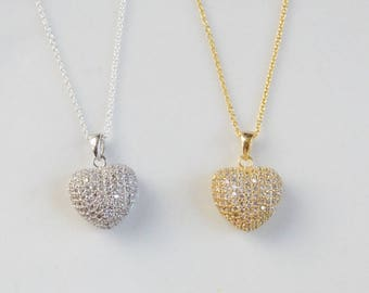 CZ heart charm necklace. Option of Gold plated  .925 sterling silver,  and .925 Sterling silver . Mother's day gift