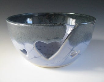 Ceramic Yarn Bowl / Pottery Knitting Bowl with Hearts in Dark Blue and Periwinkle