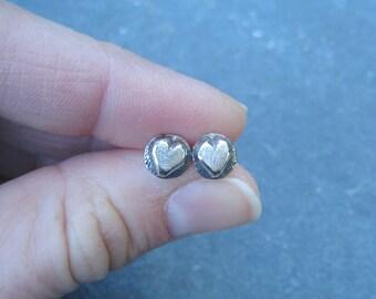 Petite rustic heart sterling silver stud earrings - valentine's day gift under 30 dollars - oxidized silver post earrings organic boho light