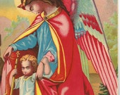 Vintage 1890 French Victorian Art print Chromolithograph/ religious/guardian Angel