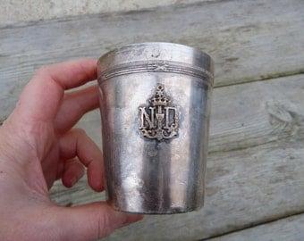 Vintage Antique French silver tumbler Notre Dame/ baptism tumbler