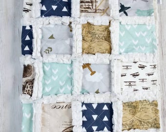 Vintage Travel Quilt - Vintage Airplane Quilt -  Airplane Blanket - Minky Rag Quilt - Travel Quilt - Adventure Blanket for Baby Boy