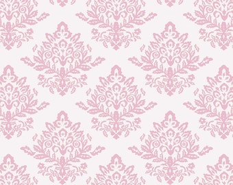 HALF YARD - French Rose, Damask in Pink White by David Textiles 100% Cotton by the yard  SALE