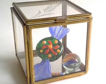 Brass & Glass Etched Cube Display Curio Mirrored Box Square Trinket