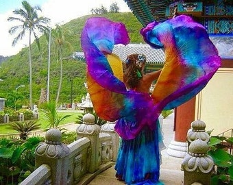 Bellydance costume silk veil Sunrise Merkaba