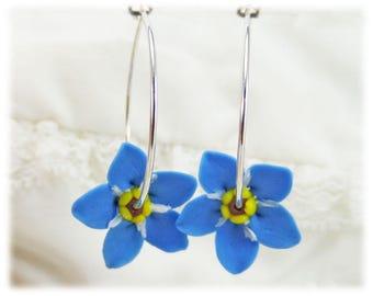 Forget Me Not Hoop Earrings - Blue Flower Hoop Earrings, Forget Me Not Jewelry