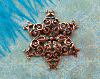 ANTIQUE COPPER * Filigree Snowflake Stamping ~ Jewelry Ornamental Findings (FB-6092)