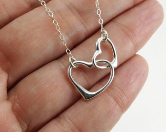 THREE DAY SALE Interlocking Hearts Necklace// Floating Heart Necklace// Handmade Jewelry Charm Necklace//Sterling Silver Hearts Necklace// B