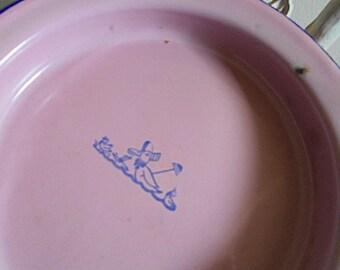 SALE Vintage enamelware baby dish plate - cobalt pink, girl - nursery rhyme Mother Goose