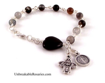 St Benedict Rosary Bracelet Black Onyx Heart w Botswana Agate Beads by Unbreakable Rosaries