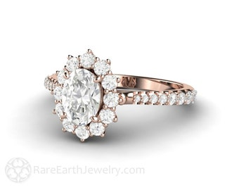 Pave 1ct Oval Forever One Moissanite Engagement Ring Vintage Cluster Halo